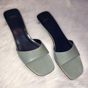 coach pale blue slip on kitten heel shoe